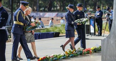 Chief of Air Force Air Marshal Mel Hupfeld, left, his wife Louise Hupfeld, Warrant Officer of the Air Force Fiona Grasby, and Leading Aircraftwoman Victoria Farell lay wreaths at the Air Force memorial. Photo by Leading Aircraftwoman Jacqueline Forrester.
