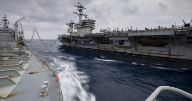 HMAS Sirius conducts a replenishment at sea with USS Theodore Roosevelt on her current deployment. Photo by Leading Seaman Thoms Sawtell.