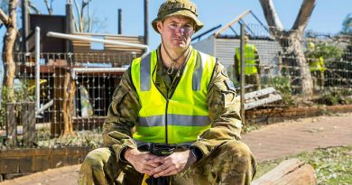 Private Scott Thompson at St Mary's Primary School, Northampton, WA, during the clean-up following Tropical Cyclone Seroja. Story by Captain Zoe Griffyn. Photo by Leading Seaman Kieren Whiteley.