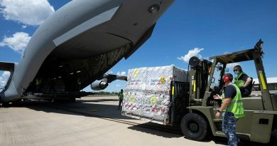Air movements operators from No. 13 Squadron load pallets of humanitarian aid bound for Timor Leste onto a C-17A Globemaster III A41-212 at RAAF Base Darwin. Photo by Petty Officer Peter Thompson.