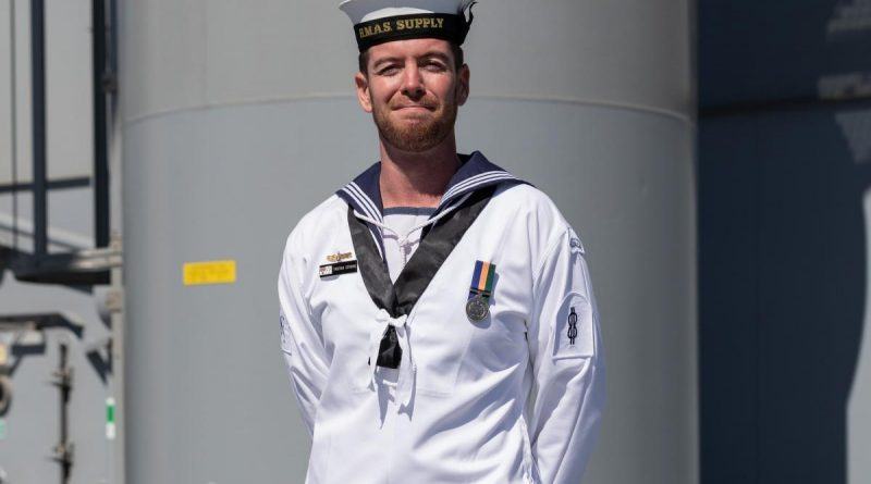Able Seaman Communication and Information Systems Tristan Strong onboard HMAS Supply. Story by Lieutenant Jessica Craig. Photo by Leading Seaman David Cox.