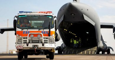 A Victorian State Emergency Service is driven off an Air Force C-17A Globemaster III aircraft, after being delivered from to Geraldton in Western Australia from Melbourne. Story by Eamon Hamilton. Photo by Leading Seaman Kieren Whiteley.