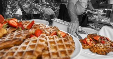 Waffles in the mess. Original photo by Corporal Brenton Kwaterski. Digitally modified by CONTACT.