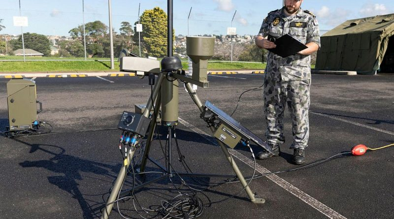 Lieutenant Matthew Bell records readings from the automatic weather station during Exercise Sparrow at HMAS Penguin. Story by Lieutenant Kylea Jones. Photo by Able Seaman Daniel Goodman.