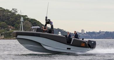 The Whiskey Project Group's tactical watercraft conducts trials on Sydney Harbour. Photo by Able Seaman Benjamin Ricketts.