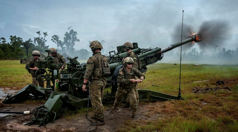 Australian Army soldiers from 1st Regiment, Royal Australian Artillery, fire an M777 lightweight towed howitzer at Shoalwater Bay during Exercise Barce 2017. Story by Captain Taylor Lynch. Photo by Corporal Sagi Biderman