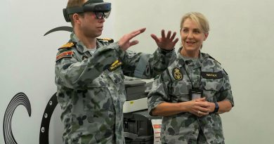 Chief of Navy Vice Admiral Michael Noonan participates in a medical virtual reality demonstration with Lieutenant Commander Irene Navay at the Navy's Centre for Innovation in Sydney. Photo by Able Seaman Leo Dafonte Fernandez.