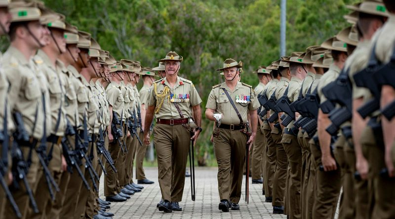 Colonel Commandant of the Royal Australian Regiment, Major General Shane Caughey, AM, CSC, inspects the soldiers of the 3rd Battalion, The Royal Australian Regiment, during the 70th Anniversary Battle of Kapyong commemoration parade, held at Lavarack Barracks, Queensland. Story by Captain Lily Charles. Photo by Private Samuel Spears.