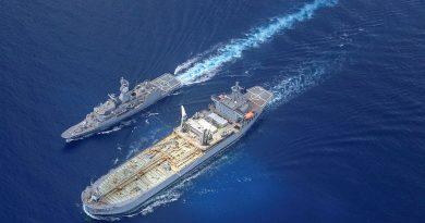 HMA Ships Ballarat and Sirius conduct a replenishment-at-sea in the Karimata Strait. Story by Lieutenant Gary McHugh. Photo by Petty Officer Mumbi.