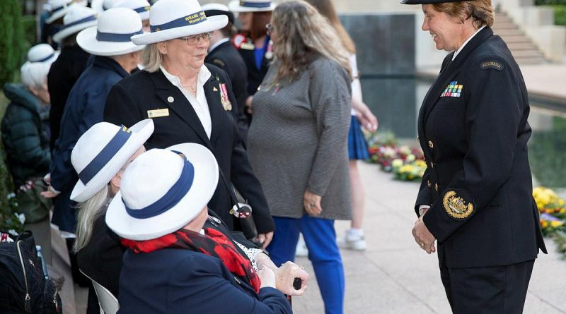 Warrant Officer of the Navy Deb Butterworth, right, speaks with Gaye Doolan, Heather Milward and Judith Rowe from the WRANS - Naval Women's Association (ACT) at the Australian War Memorial. Story by Acting Sub-Lieutenant Jack Meadows. Photo by Petty Officer Bradley Darvill.
