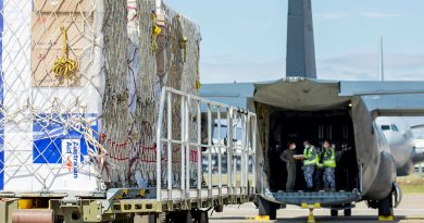 Air Movements Operators from No. 23 Squadron load pallets of AstraZeneca vaccines and COVID-19 medical supplies bound for Fiji onto a C-130J Hercules, at RAAF Base Amberley. Story by Eamon Hamilton. Photo by Leading AIrcraftwoman Emma Scwenke.