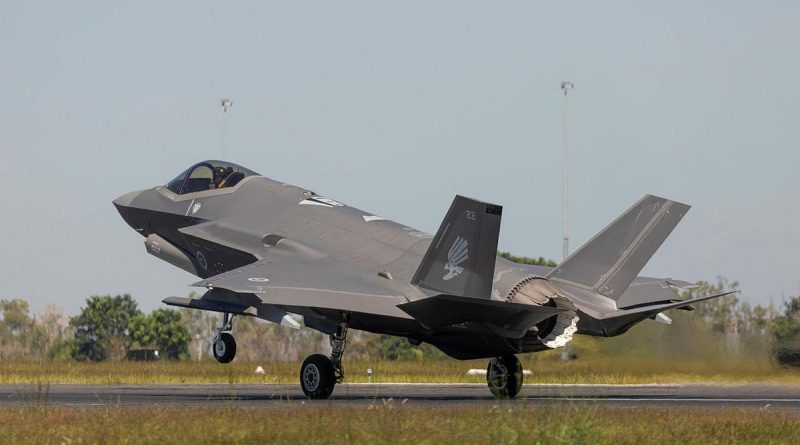 Air Force's F35A Lightning II aircraft touch down for the first time at RAAF base Darwin for exercise Arnhem Thunder 21. Story by Photo by Flight Lieutenant Robert Cochran. Leading Aircraftman Stewart Gould.