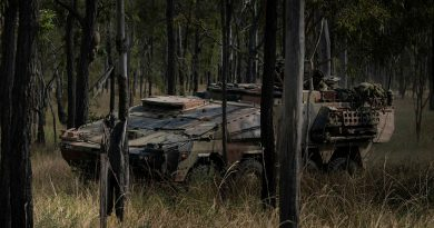 An Australian Army's new Boxer Combat Reconnaissance Vehicle conducts a live-fire battle run during exercise Diamond Walk at Shoalwater Bay, Queensland. Story by Captain Jesse Robilliard. Photo by Private Jacob Hilton.