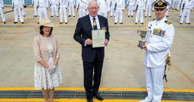 Governor-General General (retd) David Hurley, centre, and his wife Linda Hurley present the 2020 Duke of Gloucester Cup to Commanding Officer HMAS Arunta Commander Anthony Nagle. Story by Acting Sub-Lieutenant Jack Meadows. Photo by by Leading Seaman Richard Cordell.
