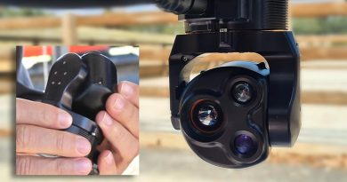 AVT's CM62 Micro Gimbal and inset for sense of size. Images supplied.