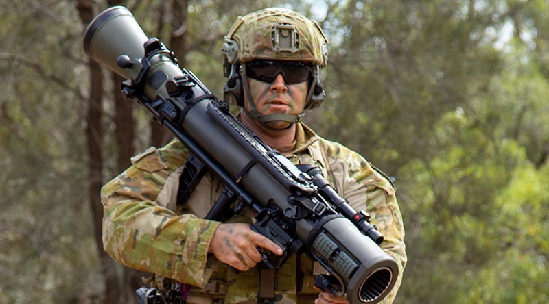 Sergeant Bryan DeVall carries the new M4 Carl-Gustaf 84mm recoilless rifle at the School of Infantry. Photo by Corporal Shane Kelly.