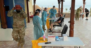 An ADF medical team from Camp Baird in the Middle East testing Multinational Force and Observers' members in the Sinai for COVID-19. Story by Lieutenant Commander Andrew Ragless.