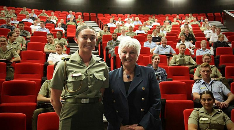 Officer Cadet Sophie Clarke, Australian Defence Force Academy Sisters in Arms President and Dame Annette King, New Zealand High Commissioner to Australia. Story by Officer Cadet Zara Noake.