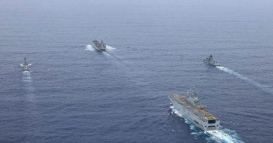 HMA Ships Anzac and Sirius sail in-company with French Navy ships FS Tonnerre and FS Surcouf of the Jeanne d'Arc Task Group during a transit of the South China Sea. Story by Lieutenant Geoff Long. Photo by Leading Seaman Sam Greenland.