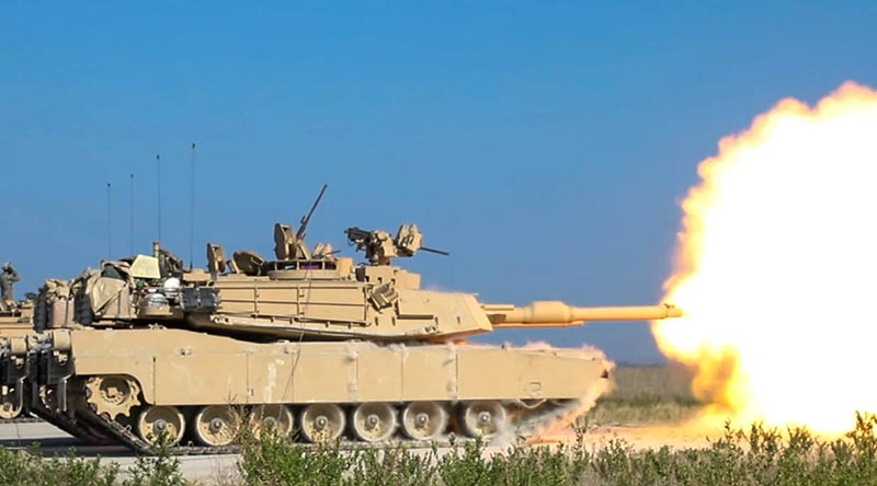 A US Army 1st Cavalry Division Abrams M1A2 SEPv3 sends its first round downrange at Fort Hood, Texas. Photo by Sergeant Calab Franklin.