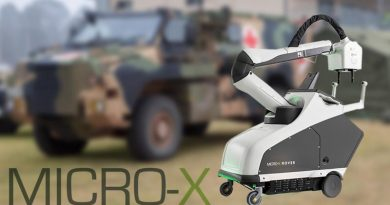 Micro X Rover, deployable X-ray machine. Background photo by Sergeant Bill Solomou.