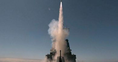 An Evolved Sea Sparrow Missile is fired from HMAS Sydney for the first time during Sydney's sea qualification trials off the coast of the United States. Story by Lieutenant Commander Benjamin King. Photo by Matt Skirde.