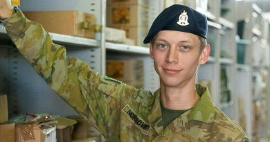 Private Alex Norgrove at work at Robertson Barracks, Northern Territory. Story by Captain Rebecca Griffith. Photo by Private Georgia Armstrong.