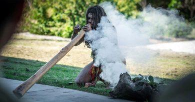 Indigenous representative of the Yuggara and Chepara people Derek Sandy performs a smoking ceremony at Gallipoli Barracks, Brisbane. Photo by Private Jacob Hilton.