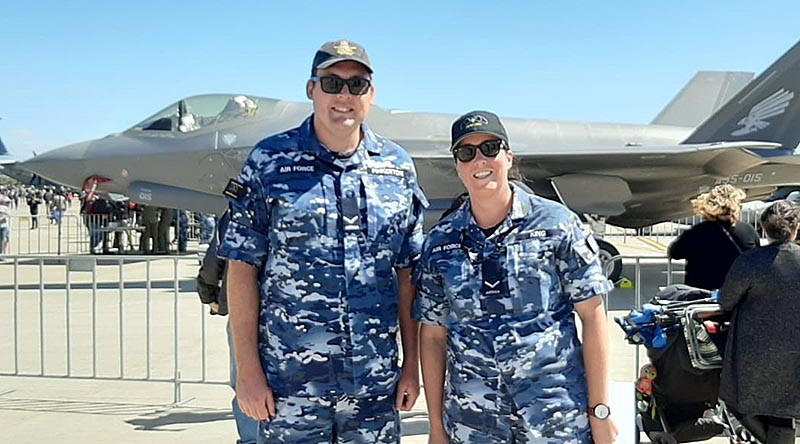Leading Aircraftman Will Pinkerton and Leading Aircraftwoman Kate King at Avalon Air Show, Victoria.