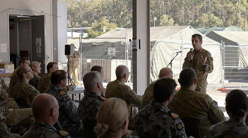 Commander Headquarters 1 Division and Deployable Joint Force Headquarters Major General Jake Ellwood addresses personnel at Exercise Polygon Wood. Story by Captain Michael Trainor.