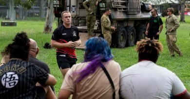 Major Matthew Daniell, from the 2nd Cavalry Regiment, briefs participants of the Proud Warrior youth engagement program at Lavarack Barracks. Story by Captain Lily Charles. Photo by Corporal Brandon Grey.
