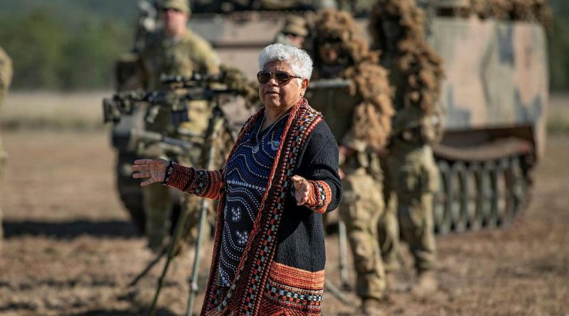 Darumbal Elder Aunty Nicky Hatfield gives a Welcome to Country to soldiers of the 6th Battalion, Royal Australian Regiment, before Exercise Diamond Walk at Shoalwater Bay, Queensland. Story by Captain Jesse Robilliard. Photo by Private Jacob Hilton.