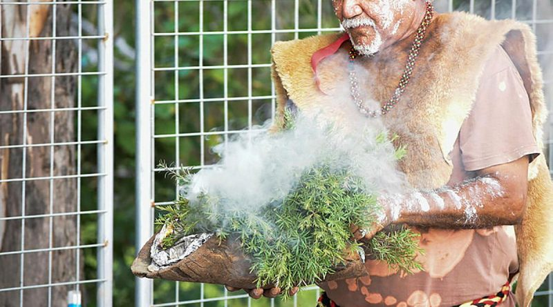 A traditional smoking ceremony has cleansed the site of the $31 million Land 400 Armoured Vehicle Simulation Centre at Lavarack Barracks, Townsville.