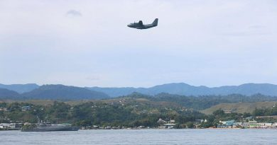 An Air Force C-27J Spartan flies over HMAS Maitland off the coast of Honiara, Solomon Islands, during Operation Solania. Story by Major Anna-Lise Brink. Photo by Seaman Isaiah Appleton.