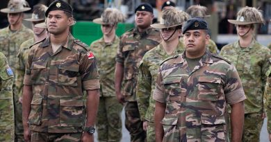 Second Lieutenant Sione Kaufononga, front left, and Lieutenant Esafe Vanipola, front right, from His Majesty's Armed Forces Tonga during the official welcome ceremony at Brisbane. Story by Captain Taylor Lynch. Photo by Corporal Nicole Dorrett.