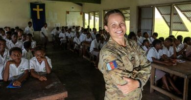 Remote Installation Commander Lieutenant Amy Rowlings visits Windua High School in South West Bay. Story and photo by Corporal Olivia Cameron.