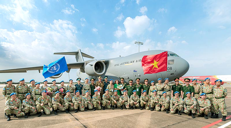 Vietnamese peacekeepers preparing to deploy to South Sudan on RAAF C-17A Globemaster III from Ho Chi Minh City. Photo by Cần Thơ Kỷ Yếu.