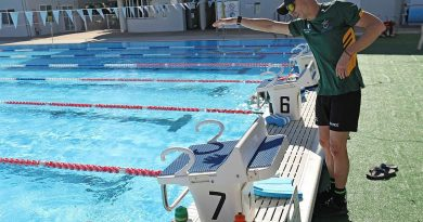 Invictus Games competitor Trent Forbes receives training from Team Australia - Assistant swim coach Andrew Wilkinson at the Gold Coast Performance Centre. Photo by Leading Seaman Jayson Tufrey.