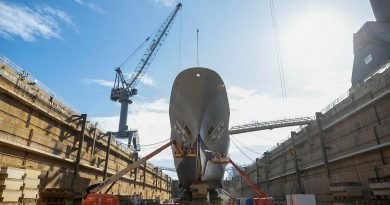 HMAS Parramatta in the Captain Cook Graving Dock last year. The dry dock has been recognised as a National Engineering Landmark by Engineers Australia. Story by Lieutenant Brendan Trembath.