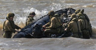 Australian Army soldiers from the 3rd Combat Engineer Regiment deploy a Zodiac rigid inflatable boat during Exercise Thunder Strike in Townsville, Queensland on 20 May 2021. Story by Captain Diana Jennings. Photo by Corporal Sagi Biderman.