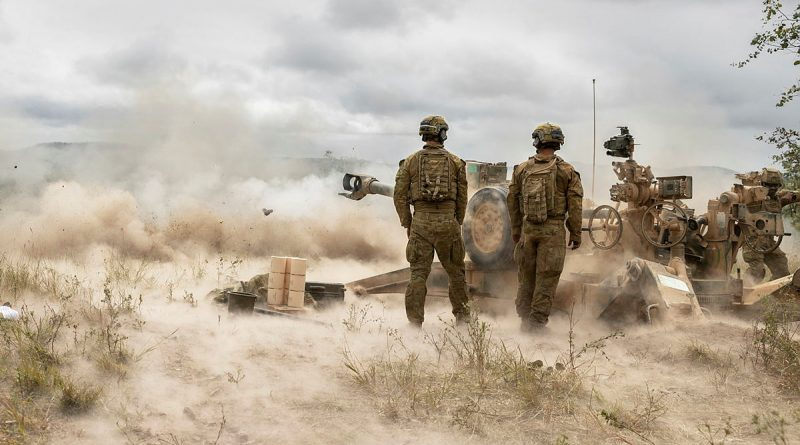 Australian Army soldiers from the 4th Regiment, Royal Australian Artillery, fire an M777 Howitzer during a fire mission on Exercise Chau Pha at Townsville Field Training Area on 22 May 2021. Story by Captain Lily Charles. Photo by Corporal Sagi Biderman.