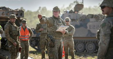 Australian Army Warrant Officer Class Two Matt Watt (centre) from the 2nd/14th Light Horse Regiment, (Queensland Mounted Infantry) gives a safety brief before a live-fire offensive operation serial featuring soldiers from the 6th Battalion Royal Australian Regiment and the 2nd Combat Engineer Regiment during Exercise Diamond Walk at Shoalwater Bay, Queensland. Story by Captain Jesse Robilliard. Photo by Private Jacob Hilton.