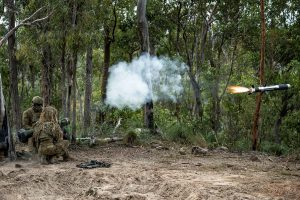 Soldiers from the 6th Battalion, Royal Australian Regiment fire a Javelin anti-armour weapon during a live-fire defence serial held for Exercise Diamond Walk at Shoalwater Bay, Queensland. Photo by Private Jacob Hilton.