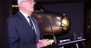 Former chief of naval personnel Rear Admiral Guy Griffiths (retd) at the launch of his biography, Guy Griffiths: The Life & Times of an Australian Admiral, at the Australian War Memorial. Story by Lieutenant Sarah Rohweder. Photo by Petty Officer Bradley Darvill.