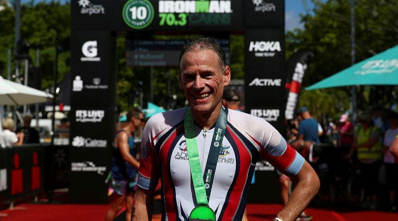 Captain Daniel Judd was the first ADF member across the line in the 70.3 half Ironman in Cairns and second overall in the 45-49 age group. Story and photo by Warrant Officer Class 2 Max Bree.