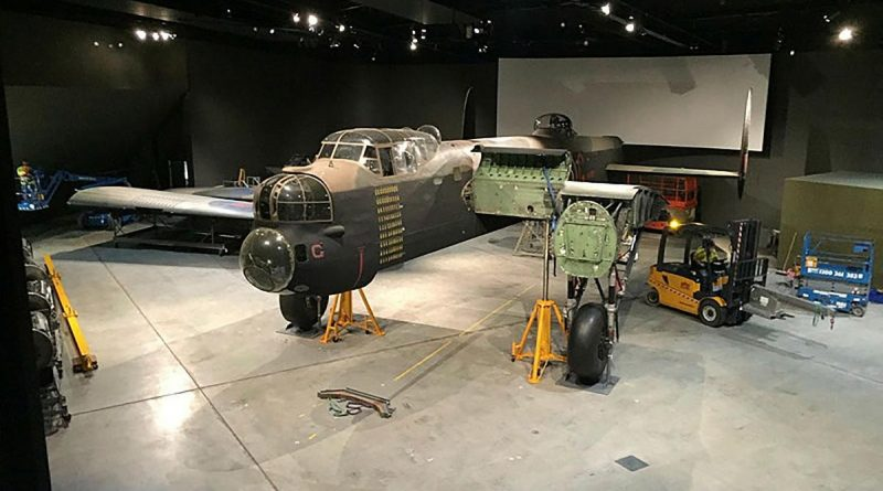 Personnel from the Air Force History and Heritage Branch working on the disassembly of the iconic Lancaster 'G for George'.