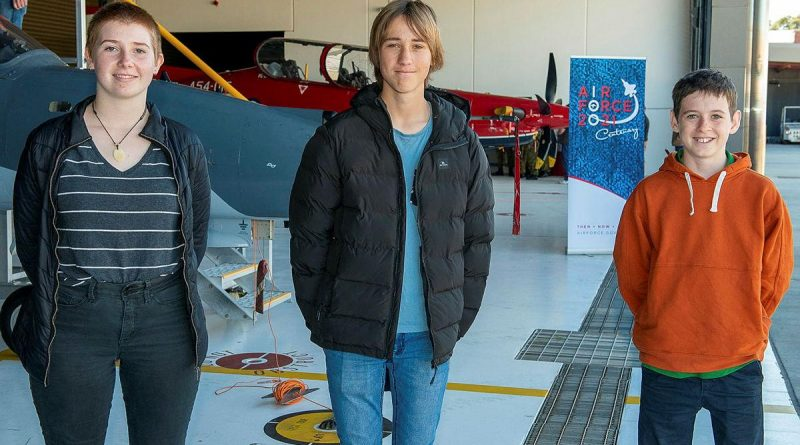 Larni-Mai Ramsell, left, Luke Roecker and Heath Caldwell, from Albany, Western Australia, are provided a behind-the-scenes tour of RAAF Base Pearce. Story by Peta Magorian. Photo by Sergeant Gary Dixon.