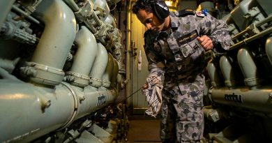 Able Seaman Avin Kulathum Meethal checks engine oil levels in the machinery space on board HMAS Ballarat during a Regional Presence Deployment. Story by Lieutenant Gary McHugh. Photo by Leading Seaman Ernesto Sanchez.