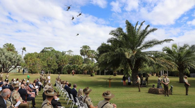 Army soldiers past and present of those killed and several personnel injured in the 1996 Black Hawk helicopter training accident for a commemorative service in Townsville to mark the accident's 25th anniversary. Photo by Trapper Lisa Sherman.