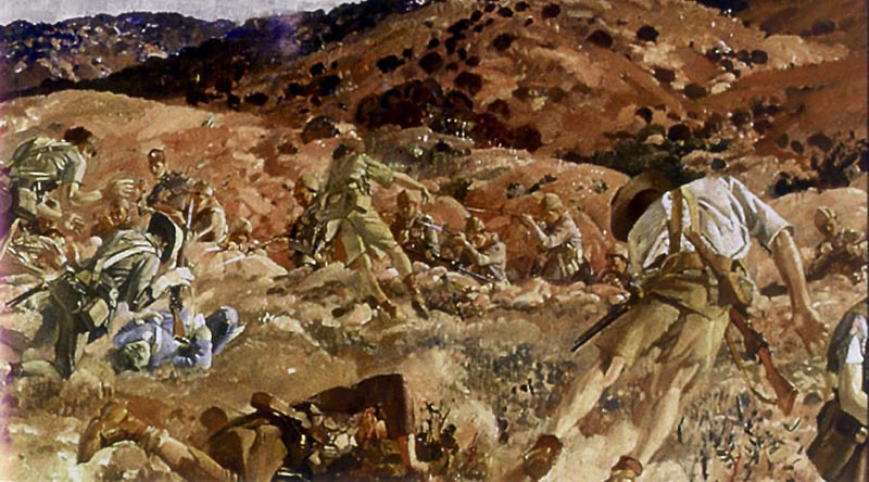 The Charge of the 3rd Light Horse Brigade at the New 7 August 1915. Painting (cropped) by George Lambert, 1924.